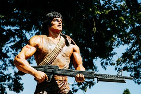 The 1982 movie First Blood, filmed in Hope, B.C., is commemorated by Edmonton carver Ryan Villiers.