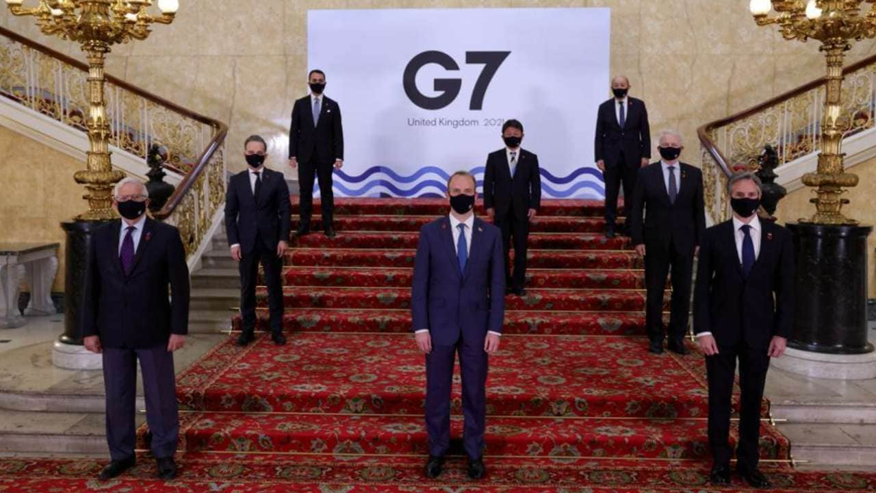 Foreign ministers of Britain, Canada, France, Germany, Italy, Japan and the United States are wrapping up three days of talks in central London that will set the agenda for a G7 leaders' summit next month. Image credit: Twitter/ @G7