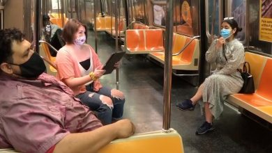 Masked opera singers deliver anonymous performance on NYC subway