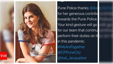 Pune Police thanks Jacqueline Fernandez for contributing for their well being: Your kind gesture will go a long way - Times of India