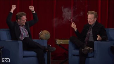 Conan O'Brien smokes weed with Seth Rogen on live TV ahead of  finale