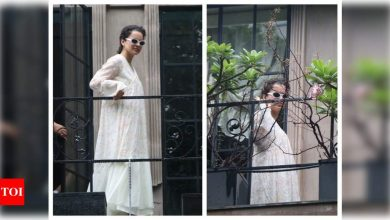 Photos: Kangana Ranaut is a vision in white as she gets snapped at her office - Times of India