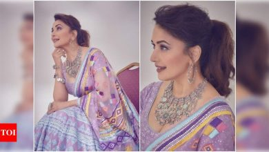 Pics: Madhuri Dixit is a sight to behold in a purple lehenga - Times of India
