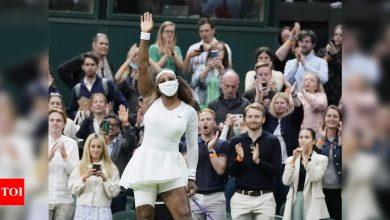 Serena Williams:  Tearful Serena Williams retires from Wimbledon after first-round injury   Tennis News - Times of India