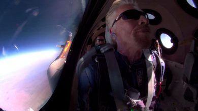 Virgin Galactic CEO Richard Branson in space during the aerospace company