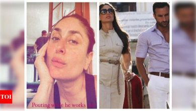 Kareena Kapoor Khan offers a sneak-peek into Saif Ali Khan's workout session while trying to click a selfie featuring her trademark pout - Times of India