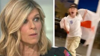 Kate Garraway reassures fans as son takes a tumble celebrating England win: 'No one hurt!'