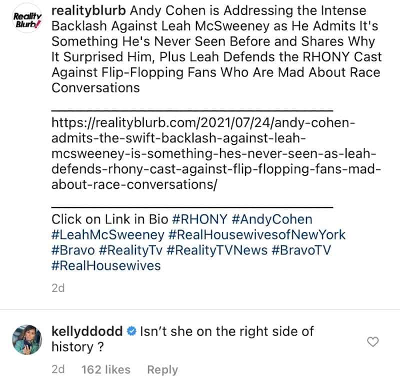 RHOC Kelly Dodd Seemingly Mocks Leah McSweeney With 'Right Side of History' Comment