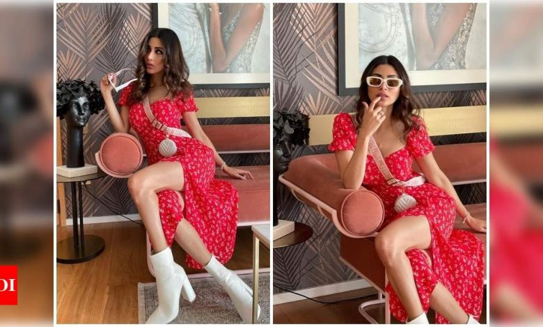 Mouni Roy looks ravishing in a red floral dress as she enjoys a day out in Dubai; pics - Times of India