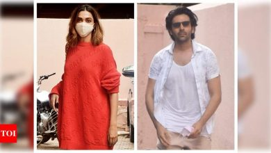 Photos: Deepika Padukone and Kartik Aaryan spotted at Sanjay Leela Bhansali's office; a film announcement finally on the cards? - Times of India