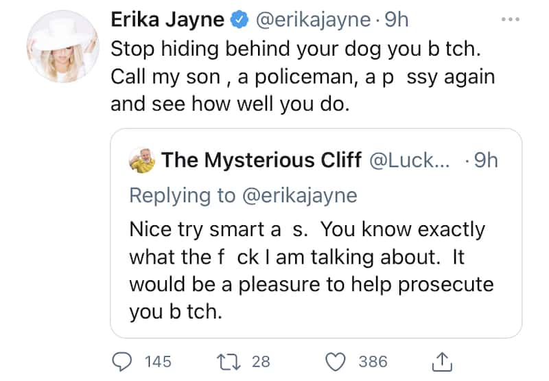 RHOBH Erika Jayne Claps Back at Twitter User Who Insults Son