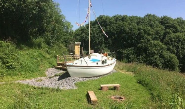 Yacht docked in west Wales countryside open for holiday stays