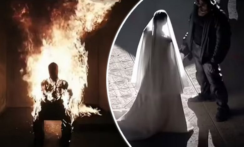 Kanye West sets himself on fire, remarries Kim at latest 'Donda' listening party