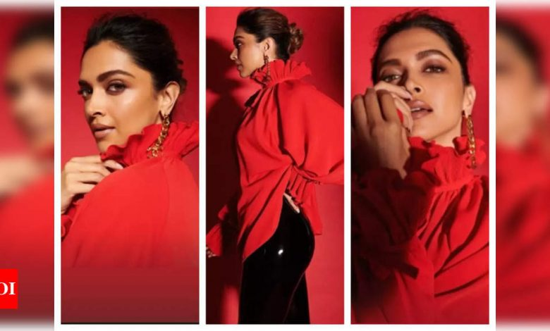 Deepika Padukone amps up the cyberspace in her ravishing red attire, see pics - Times of India