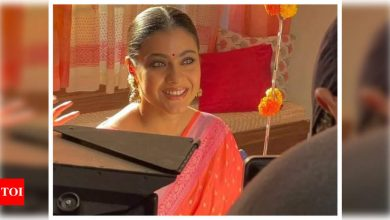 Kajol looks drop-dead gorgeous in a BTS picture from the set as she begins shooting for her next - Times of India