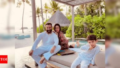 Kareena Kapoor shares a family postcard from Maldives with Taimur and Jeh on husband Saif Ali Khan's birthday: To eternity and beyond with you is all I want - Times of India