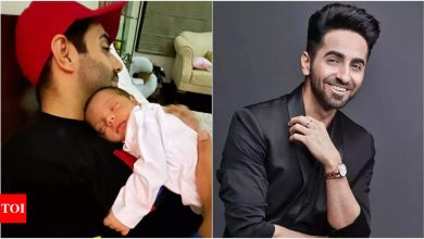 Ayushmann Khurrana reveals niece Arzoie's face as he shares a blissful picture of her sleeping in papa Aparshakti's arms - Times of India