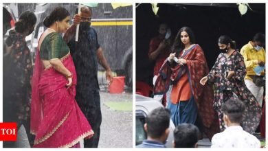 Exclusive photos! ETimes paparazzi capture Vidya Balan shooting for a project in the city - Times of India