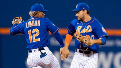Francisco Lindor and Michael Conforto celebrate after Tuesday night