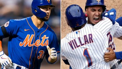 Michael Conforto rounds the bases after belting a two-run homer in Game 2 and Jonathan Villar hugs Javier Baez after scoring the game-winning run in Game 1 of the Mets