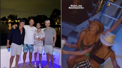 Paulina Gretzky and Dustin Johnson enjoy boat party with friends