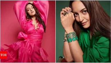 Sonakshi Sinha sizzles in shades of pink and green on the latest cover of Filmfare - Times of India